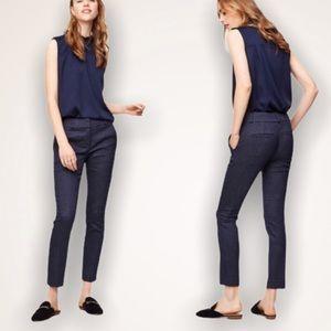 LOFT Marisa Skinny Fit Navy Pin Dot Ankle Pants